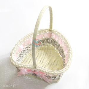 Small size pink gift flower basket/bowknot decoration basket