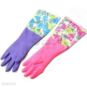 Washing dishes gloves waterproof PVC insulation long sleeve gloves flock lined