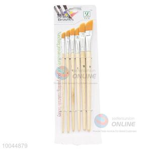 6Pieces/Set Flat Yellow Head Artist Paintbrush with Long Wooden Handle