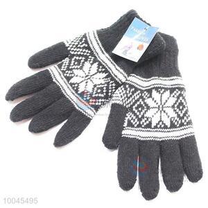 2pcs Snowflake Pattern Man Warm Gloves Set