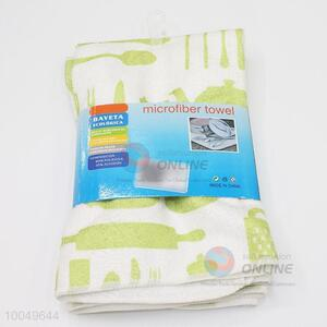 Hot Sale 40*45cm Green&White Polyester Cleaning Towel for Home Use