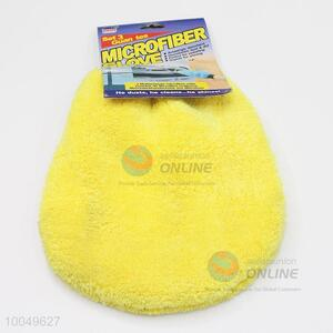 Comfortable Household 18*19CM Yellow Coral Velvet Cleaning Gloves