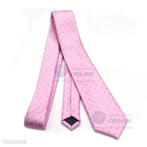 High-end pink color polyester printing silk men ties for sale