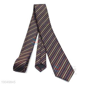 High quality stripe printed polyester silk ties for men