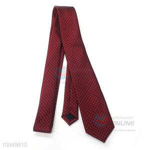 Wholesale dark red hot sell famous polyester material ties for men business party
