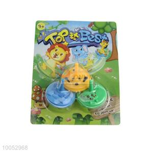 Lovely small plastic spinning top toy with animal face