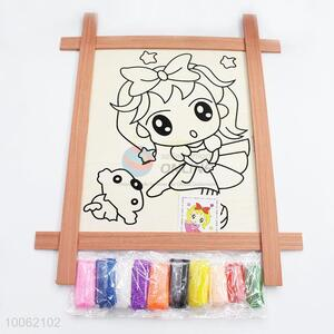 Cartoon magnetic drawing board with colorful foam putty