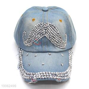 Fashion diamond-studded cowboy hat baseball hat peak cap distressed denim washed denim sun-shade hat for outdoor recreational sports
