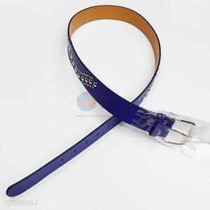 Blue PU Belt with Rivet Decoration for Woman