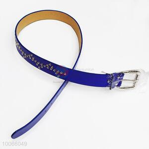 Dark Blue PU Belt with Rivet Decoration