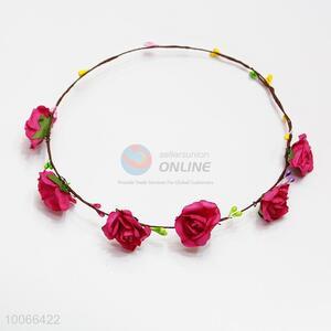 Red Flower Headband Festival Wedding Floral Garland