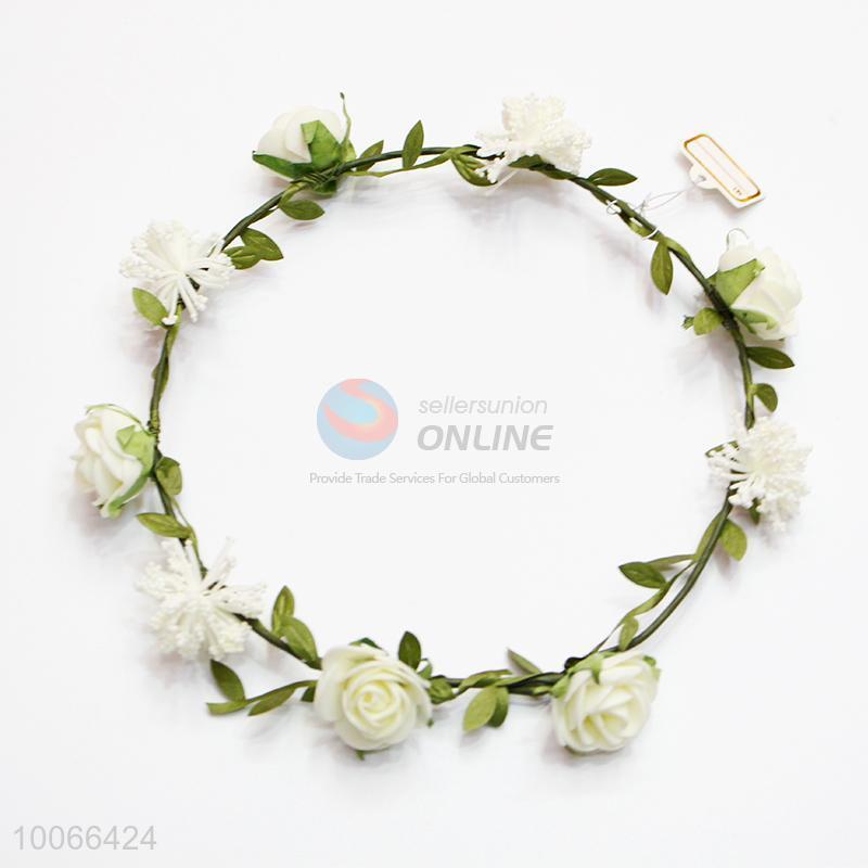 White Flower Headband Festival Wedding Floral Garland - Sellersunion Online 82f29cc822b