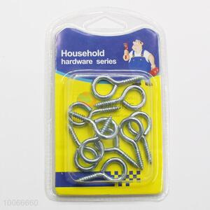 Hot Sale Silvery Screw Hooks for Homeuse, 10 Pieces/Set