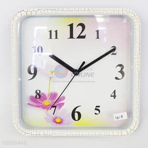 Beautiful square plastic wall clock with flower pattern