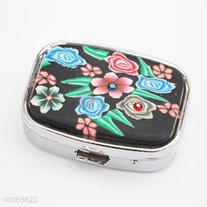 Flower Pattern Pill Case with Mirror with Wholesale Price