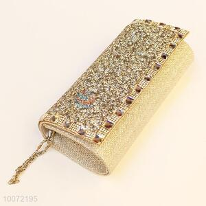 Latest khaki women evening bag lady crystal clutch bag