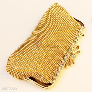 Durable gold women evening bag crystal clutch bag