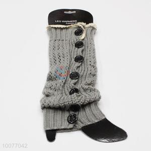 Wholesale Grey Leg Warmers with Buttons, Lace Boot Socks for Ladies