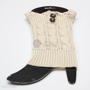 Hot Sale Knit Lace Leg Warmers with Buttons
