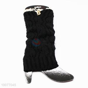 Girls Boho Knitted Ruffles Lace Leg Warmers with Buttons as Decoration