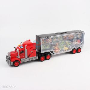 Top quality vehicle toys container truck with 6pcs alloy cars/dinosaur
