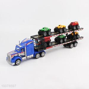 Fancy boy gift toy inertia double deck truck with 6pcs mini cars
