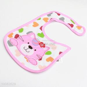 Pink cat embroidery baby saliva towel