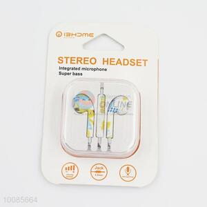 High quality color print super bass integrated microphone stereo headset