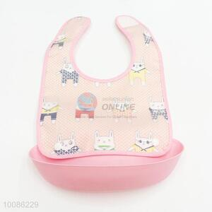 Lovely pink detachable waterproof silicone baby bibs