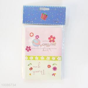 6 Pieces/Set Pink Flower Pattern Birthday Cards