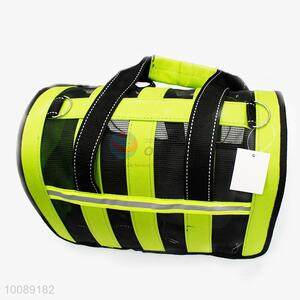 Green Portable Dog Cat Carrier Breathable Polyester Handbag