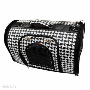 Black Plaid Protable Pet Travel Carrier Shoulder Handbag