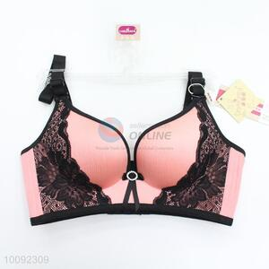 High quality pink delicate sexy bras with black lace plus sizes