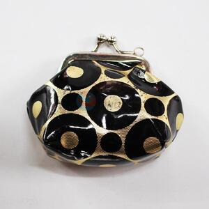 Black Circle Coin Holder,Coin Pouch,Coin Purse with Key Ring