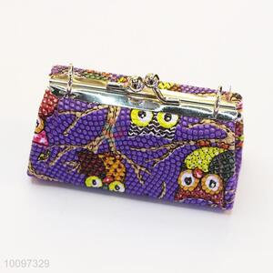 Purple owl purse/clutch bag/lady bag with metal chain