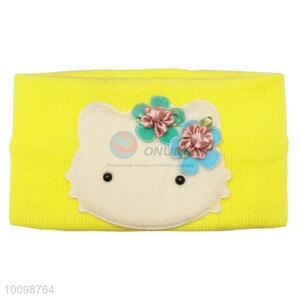 Cute cat knit headwrap baby headband for girls with curling