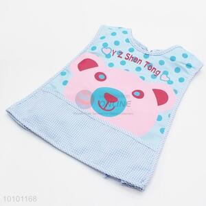 Blue Lovely Cartoon Bear Pattern Cotton Baby Bibs