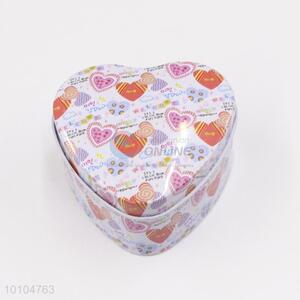 Loving heart pattern heart shaped gift packaging/tin box