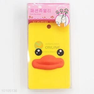 Yellow cartoon duck card sleeve with key chain