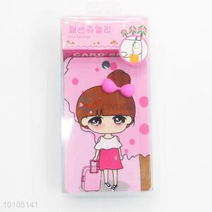Pink girl heart shapely card sleeve with key chain