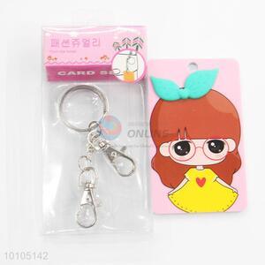 Glasses cartoon girl graceful card sleeve with key chain