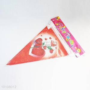 Red Color Heart Pattern Eco-friendly Party Pennant
