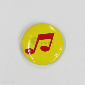 Music Note Yellow Round Badge