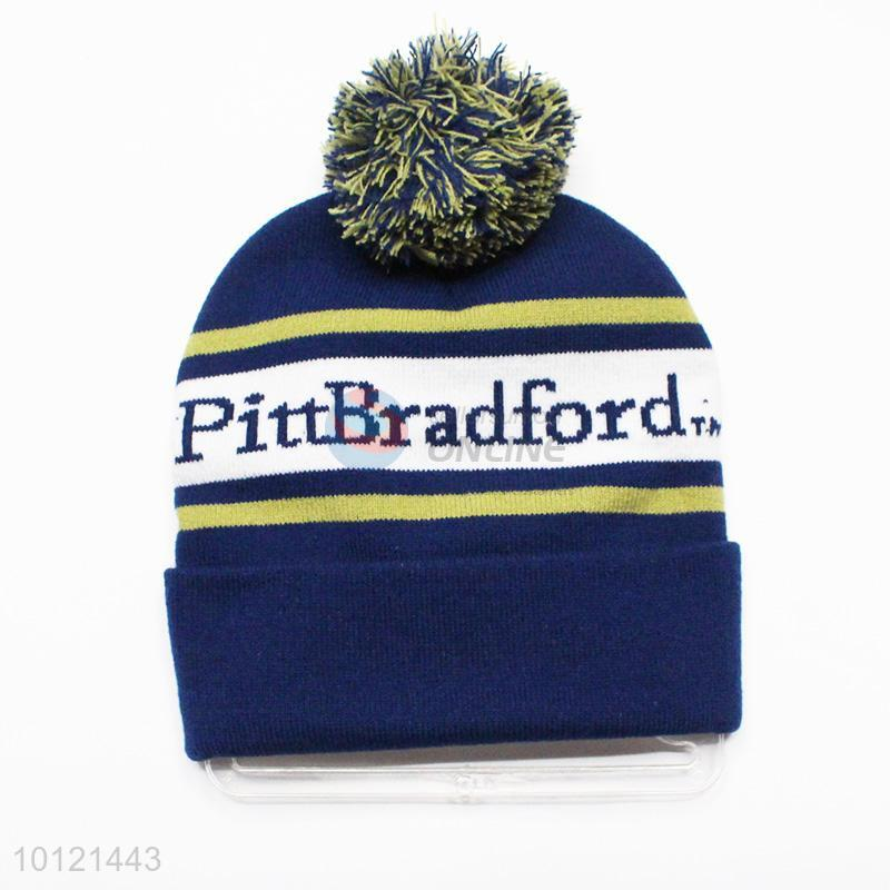Dark Blue Winter Hat Knitted Hat with Ball Top - Sellersunion Online a5576cc9707