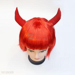 Festival party girls bobo short red wigs with ox horn