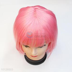 Cheap high-temperature pink party short bob wigs for women
