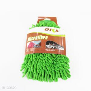 Green cute low price single-side car wash glove