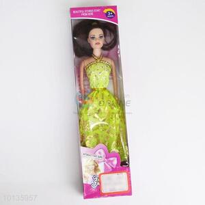 Yellow Long Dress Plastic Barbie Dolls for Girl