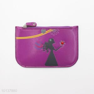 Simple Pattern Women Coin Purse, Cross Grain Leather Handbags, Zipper Coin Bag