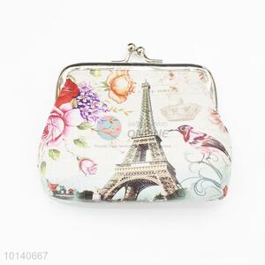 Portable Flowers and Tower Pattern Wallet Coin Case Bag Plush Purse